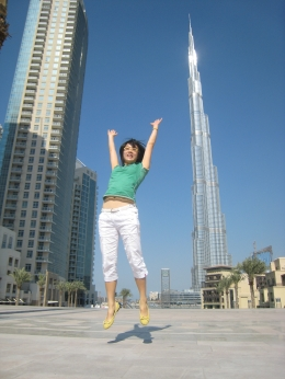 Jumping for joy being the first few people up to Burj Khalifa in 2010