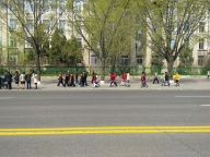 children walking on the streets are common...