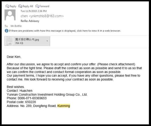 kunming scam email