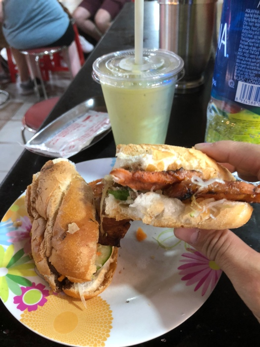 Banh Mi and avocada juice in Ben Thanh market