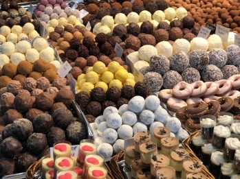 Chocolate galore at Mercat de La Boqueria.