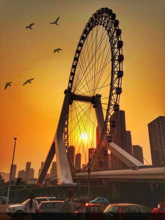 Tianjin eye In the evening sky