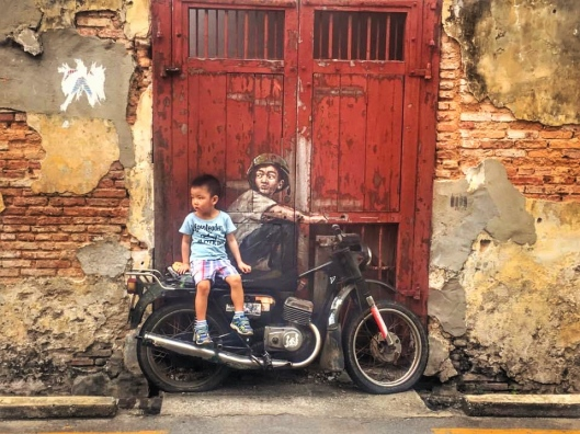 The iconic Motorcycle street art In George Town if Penang