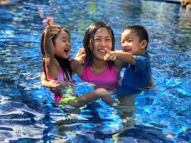 Swimming at shangrila golden sands resort