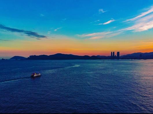Sunset at Haeundae beach busan