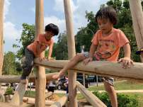 Log balance walk at playground of Jubilee Park fort canning