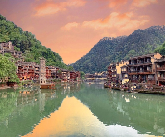 Fenghuang ancient town at dawn